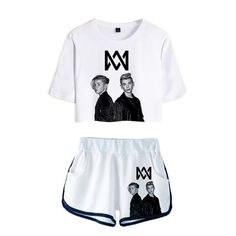 Frdun Tommy 2018 Women Two Piece Set Marcus & Martinus Tracksuit Women Top and Shorts Outfits Set Girl Fans Marcus Martinus Suit Short Outfits, Stylish Outfits, Pants For Women, T Shirts For Women, Clothes For Women, T Shirt And Shorts, Tour T Shirts, Suits, Style