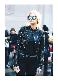 Style Inspiration: Gigi Hadid at NYFW// #black #LeatherJacket #MotoJacket #LeatherSkirt #style #stylish #StreetStyle #fashion #NY #NYC #NewYork #NewYorkCity #Manhattan #socialite #celebrity #model #GigiHadid #ModelOffDuty