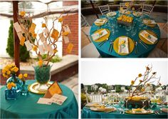 i like the table with teal table cloth and yellow plates.