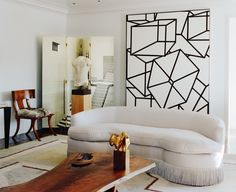 Digging the incorporation of art in this room design.  Art/ Wall art/ Wallpaper/ Ceiling/ Art inspiration/ Design/ Home decor