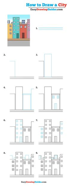 Learn How to Draw a City: Easy Step-by-Step Drawing Tutorial for Kids and Beginners. #City #DrawingTutorial #EasyDrawing See the full tutorial at https://easydrawingguides.com/draw-city-really-easy-drawing-tutorial/.
