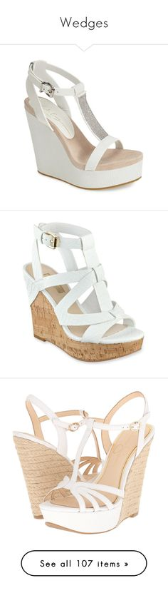 """""""Wedges"""" by mrseclipse ❤ liked on Polyvore featuring shoes, sandals, wedges, heels, sapatos, white, wedge sandals, high heel platform sandals, wedge heel sandals and beaded sandals"""