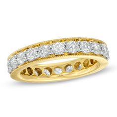 Ladies' 2 CT. T.W. Diamond Eternity Channel Set Milgrain Wedding Band in 14K Gold