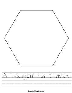 A hexagon has 6 sides Worksheet - Cursive - Twisty Noodle Free Preschool, Preschool Classroom, Classroom Ideas, Kindergarten Worksheets, Preschool Activities, Educational Activities, Geometry Worksheets, Printable Worksheets, Printable Shapes