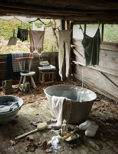Primitive laundry. Yes, I'm a dreamer. But the work gets done... There is NOTHING better than handmade lye soap.