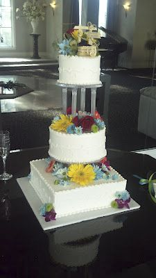wedding cakes, multi-color cakes, 3 tier cakes, specialty cakes, http://tiered-expressions.com