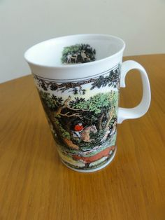 Dunoon Ceramic Pottery Hunting Foxhounds Horse Riding Coffee Mug Cup Scotland