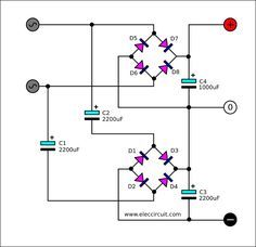 Dual DC power supply rectifier using 2 terminal transformer There are many ways to build the Dual DC power supply rectifier from a transformer that has one secondary coil.use two bridge diodes and we use capacitance Basic Electronic Circuits, Electronic Circuit Projects, Electronic Schematics, Electrical Projects, Electronic Engineering, Electrical Engineering, Electronics Projects, Hobby Electronics, Electronics Components