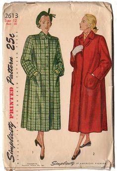 Vintage Simplicity Sewing Pattern 2613 Ladies 1948 Coat Pattern Sz 12 Bust 30