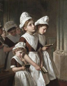 Sophie Gengembre Anderson - Foundling Girls at Prayer in the Chapel  c. 1877