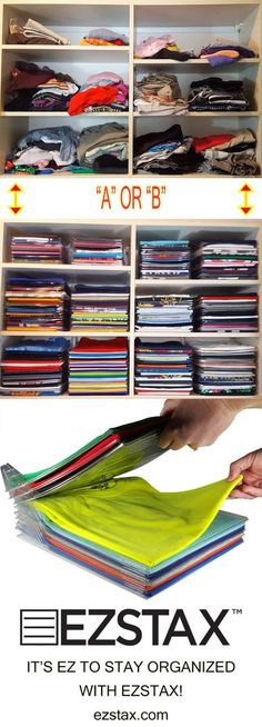 EZSTAX helps you STAY organized in your closets and dressers through a series of interlocking dividers.  Pull one from the middle and the rest stay right where they belong.