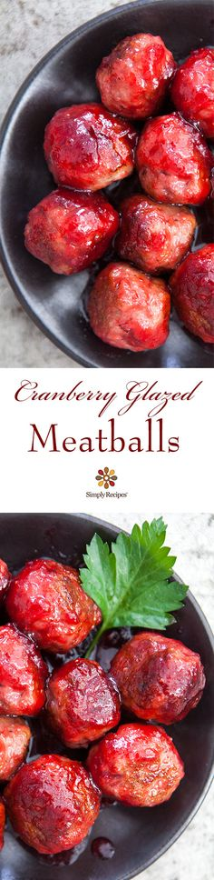Perfect for holiday entertaining! Tender turkey meatballs, browned and glazed with a sauce of cranberries, ginger, and orange. On SimplyRecipes.com