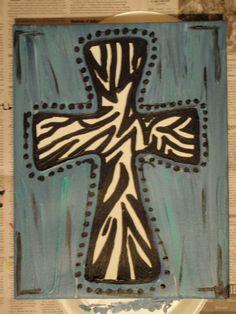 Cross+Paintings+On+Canvas | Kara's Kustom Art: Zebra Cross