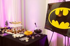 Batman dessert bar instead of a groom's cake! 1920s Art Deco Themed Wedding in Atlanta at the Biltmore Ballrooms - Munaluchi Bridal Magazine