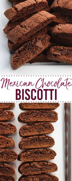 Mini Mexican Chocolate Biscotti are deep chocolate-y biscotti with a bold spice flavor coming from ground cinnamon and cayenne pepper. Topped with cinnamon sugar, these bar cookies are a great pairing for a cup of coffee or as a part of holiday cookie tra Biscotti Rezept, Biscotti Cookies, Bar Cookies, Coffee Cookies, Almond Cookies, Greek Cookies, Chocolate Biscotti Recipe, Chocolate Recipes, Chocolate Cookies