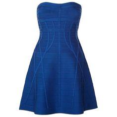 Herve Leger Rebeka Strapless Dress ($1,015) ❤ liked on Polyvore featuring dresses, vestidos, short dresses, robes, strapless dresses, bandage dress, fit and flare dress, strapless cocktail dresses and bodycon mini dress