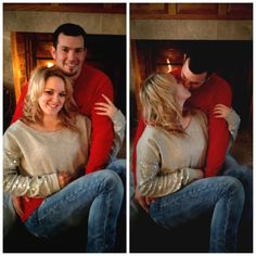 DIY couples Christmas pictures! Fireplace