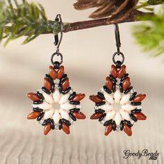 GoodyBeads | Blog: superduo poinsettia earrings with FREE tutorial