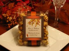 Love the presentation of this!  AUTUMN FALL caramel corn popcorn wedding favors - maple leaves pumpkin brown orange eggplant