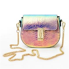 9de3dc1ef6  Visit to Buy  PU Laser Small Mini Flap Bag Women Messenger Bags Chain  Serpentine Bolsa Luxury Handbags Women Bags Designer Crossbody Bags Sac