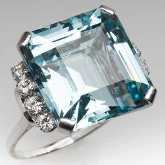 23 Carat Emerald Cut Aquamarine & Diamond Cocktail Ring