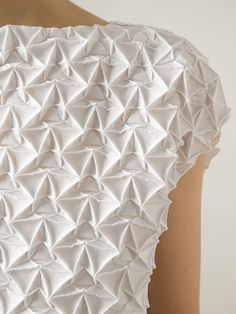 Fabric Manipulation - textured dress with geometric pleats; innovative textiles; origami fashion detail // Issey Miyake