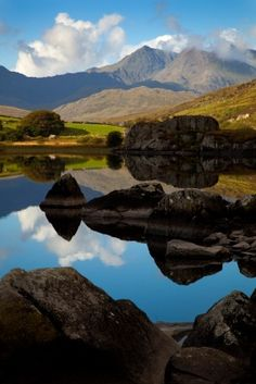 Mirror-like lakes in Snowdonia.