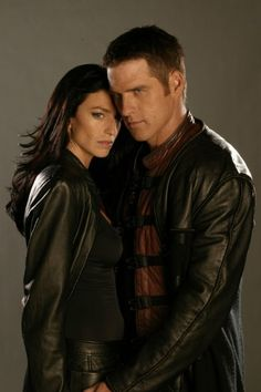 Still of Claudia Black and Ben Browder in Farscape (1999)