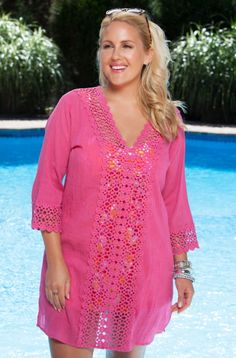 Plus Size Cover Ups - Always For Me Cover Crochet Tunic