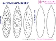 Everybody's Gone Surfin'! Color & design your own surfboard - they make great bookmarks! Free to download