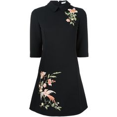 Vivetta floral embroidery flared dress (€510) ❤ liked on Polyvore featuring dresses, black, floral dresses, floral pattern dress, vivetta dress, embroidered flower dress and print dress