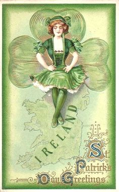 Dancing On Ireland Vintage St. Patrick's Day Card