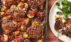 Thomasina Miers' sticky ancho-roasted chicken thighs with rosemary and ginger.