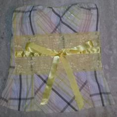 Yellow brown and pink plaid top with yellow lace Super cute strapless yellow brown and pink plaid top papaya Tops