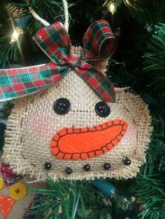 Burlap Snowman Ornament made by Barbara Rascon