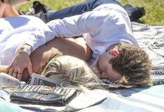 By the end of the day many people were in a much more relaxed state and one couple snuggled in each others arms on a picnic rug Melbourne Cup, Stakes Day, Final Days, Snuggles, Finals, Picnic, Carnival, Arms, Sleep