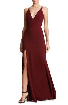 Main Image - Dress the Population Iris Slit Crepe Gown