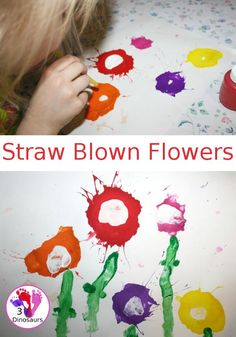 Flower have always been one of our favorite crafts and activities to do for spring. When you add a little change in how you paint it can be fun. By using straws you work on breath control while painting fun Spring Crafts For Kids, Diy Crafts For Kids, Fun Crafts, Art For Kids, Children Crafts, Summer Crafts, Art Activities For Toddlers, Painting Activities, Spring Activities
