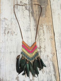 Vintage Leather Festival Necklace + Rainbow Beading Detail on Etsy, $40.45