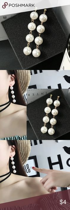 Beautiful long faux pearl earrings Brand new white pearl earrings. Price: 2/$6 or 3/$8. You can mix and match earrings. If you only need 1 pair of earrings, price is $4 but you will have to bundle with another item. Jewelry Earrings