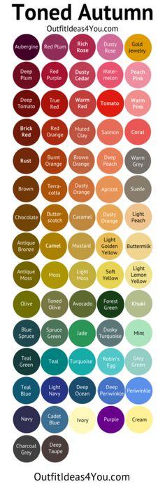 Toned Autumn Color Palette (Soft Autumn Deep) #ABSInformationAndTips