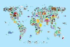 Map Of The World Digital Art - Animal Map of the World for children and kids by Michael Tompsett #map #digital #animalmap #art #artwork #digitalart #decor #kidsdecor