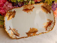 Gorgeous Antique T&V Limoges Porcelain Platter ~ Seaweed ~ Fish ~ Gold Gild #TVLimoges