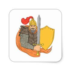 Old Knight Sword Shield Drawing Square Sticker - drawing sketch design graphic draw personalize