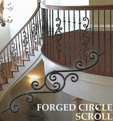 This amazing staircase makeover is unquestionably an interesting design concept. Iron Staircase Railing, Stairs Balusters, Rustic Staircase, Iron Balusters, Curved Staircase, Staircase Design, Staircases, Staircase Ideas, Bannister