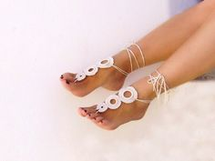 barefoot sandals | ... & ACCESSORY GALLERY: Crochet Camomile Light Beige Barefoot Sandals