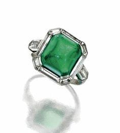 Sugarloaf Cabochon Emerald and Diamond Ring, circa 1930