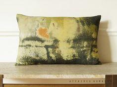 Jaune. Art abstraite housse de coussin rectangle en Lin. Inspiration vintage.. / RETRO-MODERNE