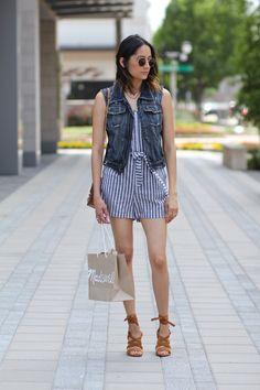 striped romper & denim vest