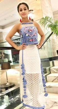 My love hina khan Choli Designs, Blouse Designs, Indian Wedding Outfits, Indian Outfits, Western Dresses, Indian Dresses, Dress Outfits, Fashion Dresses, Mode Hijab